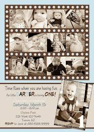 template free cute first birthday invitation boy with brown hd