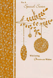 foil ornaments on branch sister christmas card by freedom greetings
