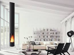 wood burning central hanging fireplace slimfocus by focus creation