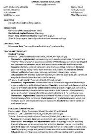 Sle Resume Of Child Caregiver Daycare Resume Objective Targer Golden Co