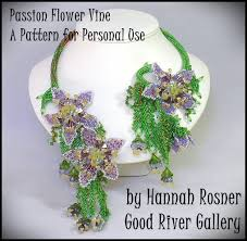 just updated bead pattern passion flower beaded vine necklace