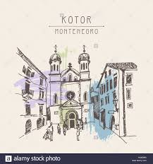 sketch drawing church of saint tryphon in kotor montenegro stock