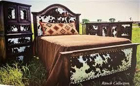 Cowhide Headboard  Footboard Western Bedroom Furniture - Cowhide bedroom furniture