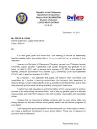 application letter format philippines sle application letter for secondary teachers in the philippines
