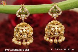 jhumka earring one gram gold jhumka earring with semipolished ruby emerald