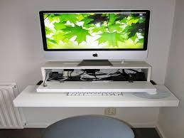 White Wooden Computer Desk Rectangle White Wooden Floating Imac Computer Desk On Wall