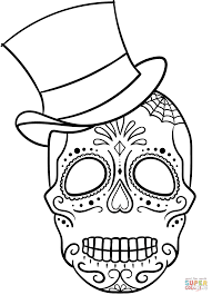 sugar skull with top hat coloring page free printable coloring pages