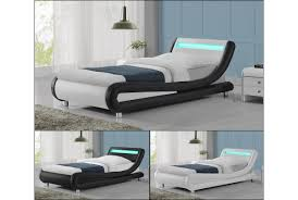 luxury designer bed in faux leather with led headboard in