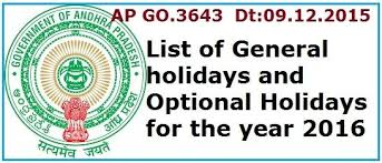 ap go 3643 list of general optional holidays year 2016 ap andhra