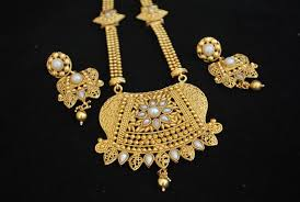 gold tone necklace set images Buy gold tone rajwadi long necklace set in pearls online JPG