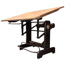 French Industrial Desk Industrial Adjustable French Architect U0027s Drafting Table 1950s At