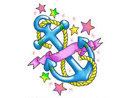 free designs girly anchor with stars and hearts tattoo wallpaper