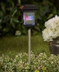 Solar Stake Garden Lights - solar american eagle flag garden lights stake set outdoor path