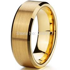 gold wedding band mens classic 8mm men ring titanium wedding band gold ion plating