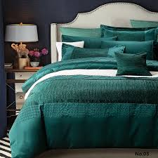 Silk Crib Bedding Set Luxury Designer Bedding Set Quilt Duvet Cover Blue Green