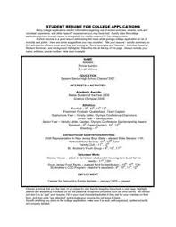 College Admissions Resume Template For High Students It Is Sometimes Troublesome To Write