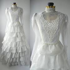 vintage wedding gown white retro bridal dress linen vintage