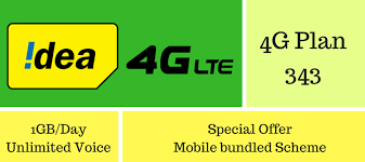 idea plans idea 4g offer 343 with 1gb day unlimited calls for 28 days
