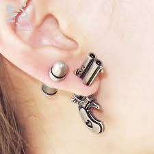 gun earrings gun stud earings fashion jewelry stainless steel spike earrings