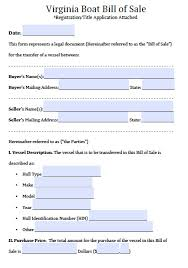Power Of Attorney Template Virginia by Free Virginia Boat Bill Of Sale Form Pdf Word Doc