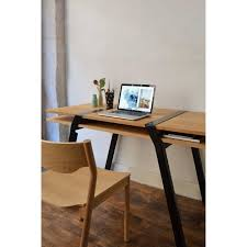 pi16 double top wall desk solid oak and black steel legs design fry
