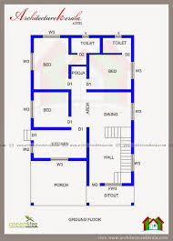 3 Bedroom House Plans Three Bedroom House Plan And Beautiful Elevation Architectureerala