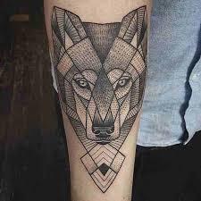 lower arm geometric wolf tattooshunter com