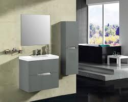abella 24 inch modern grey finish bathroom vanity set solid oak wood