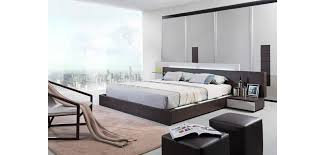 Modern Platform Bed With Lights - modrest gamma italian oak bedroom set with lights