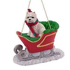 westie sleigh ornament home kitchen