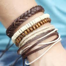 leather bracelet styles images Boho hippie multi layer unisex leather bracelet styles beach eye jpg