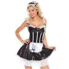 French Maid Halloween Costumes Buy Women U0027s Piece French Maid Costume Spaghetti Strap