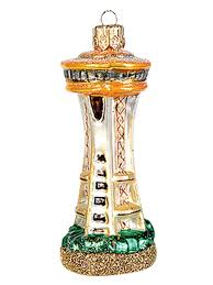 seattle space needle blown glass ornament