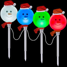 Led Christmas Pathway Lights Lightshow Snowman Pathway Stake Set Of 4 81999 The Home Depot
