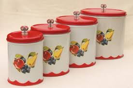 kitchen counter canisters vintage canister set tins w 1950s retro fruit print kitchen
