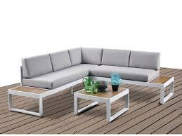 canapé d angle de jardin salon de jardin d angle gris et plateaux en bois padang