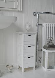 side photo of portland narrow white bathroom storage cabinets a