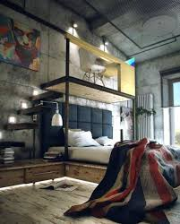 bachelor bedroom ideas industrial style with desk over bed with