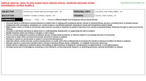 Sample Social Worker Resume by Substance Abuse Social Worker Cover Letter