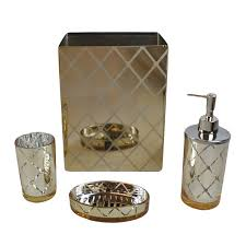 Mirrored Bathroom Accessories - shiny gold bathroom accessory set mirrored 4 pc bath ensemble soap