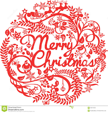 merry christmas cutout silhouette stock vector image 63314532