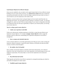 resume objective sample statements cover letter example general