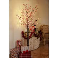 Pre Lit Christmas Twig Tree 6ft Christmas Berry Twig Tree Pre Lit Led Warm White Lights Indoor