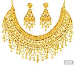 bridal gold set 22k designer bridal gold set ajst57658 22k yellow gold