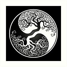 white and black tree of yin yang prints by jeff bartels
