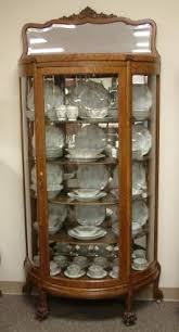 antique tiger oak bowed glass curio china cabinet c 1900 china