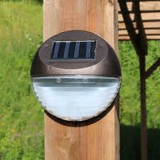 Round Solar Lights by Sunnydaze Round Solar Mounted Led Fence Patio Deck Or Walkway