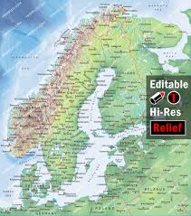 Scandinavia Map Norway Sweden Finland Denmark Map Illustrator Mountain High