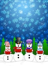snowman carolers singing christmas songs with snowing winter