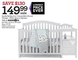 4 In 1 Convertible Crib With Changer Sorelle Berkley 4 In 1 Convertible Crib And Changer White Gray Or